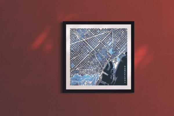 Barcelona cool blue square framed wall art print
