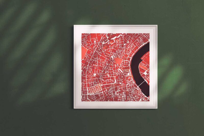 "Bordeaux Framed Print ""Red Wine"" City Map 1"