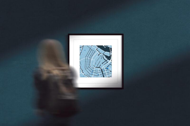 "Amsterdam Framed Wall Art Print  ""Cool Blue"" City Map 2"
