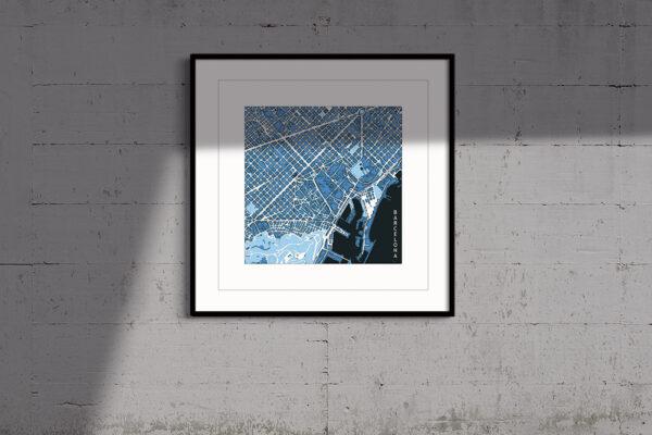 barcelona, cool blue, framed print