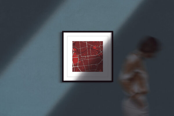 "Berlin Square Framed Wall Art Print ""Red Wine"" City Map 1"