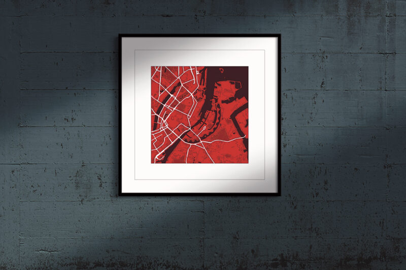 """Copenhagen, Square Framed Print """"Red Wine"""" City Map 1"""