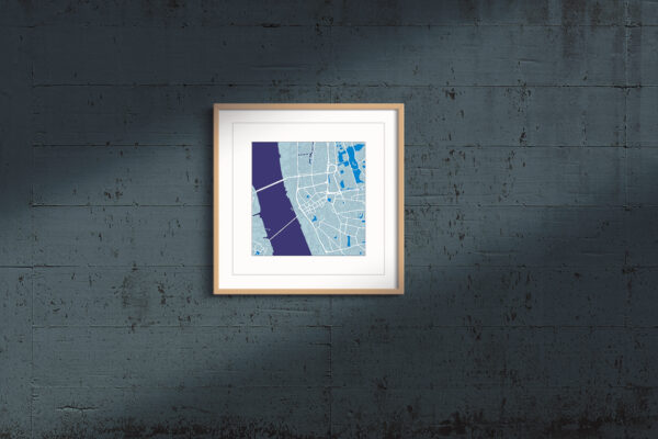 "Liverpool Framed Wall Art Print  ""Cool Blue"" City Map 1"