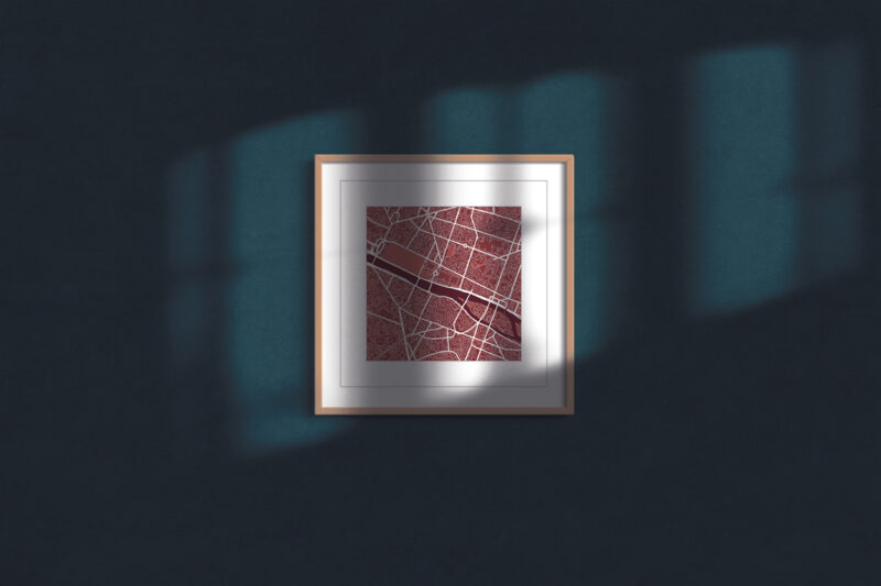 "Paris Square Framed Wall Art Print ""Red Wine"" City Map 1"